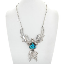 Vintage Sleeping Beauty Turquoise Silver Firebird Necklace 41044