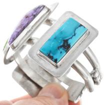 Spiderweb Turquoise Sterling Silver Navajo Bracelet 41045