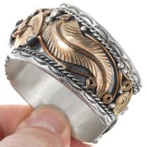 Sterling Silver Gold Eagle Design Navajo Cuff Bracelet 41047