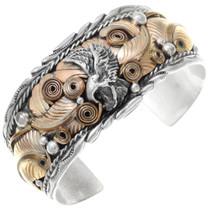 Vintage Navajo Gold Silver Eagle Bracelet 41047