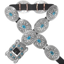 Natural Turquoise Sterling Silver Concho Belt 41050