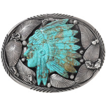 Carved Turquoise Native American Belt Buckle 40294