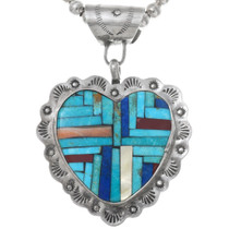 Vintage Turquoise Inlay Heart Pendant Necklace 41052