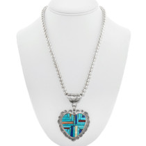 Native American Sterling Silver Turquoise Heart Kewa Necklace 41052