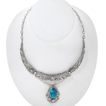 Old Pawn Turquoise Silver Navajo Necklace 41053