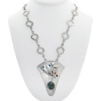 Spiderweb Turquoise Lapis Coral Sterling Silver Corn Pendant 41054