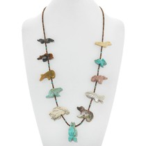 Hand Carved Turquoise Fetish Necklace 41057
