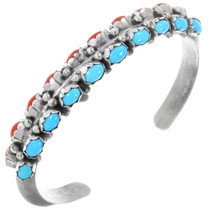 Old Pawn Turquoise Coral Sterling Silver Bracelet 41058