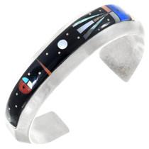 Sterling Silver Micro Inlay Silver Navajo Night Sky Bracelet 41059