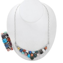 Navajo Multi Gemstone Necklace Cuff Bracelet Set 41062
