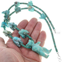 Carved Turquoise Bear Fetish Necklace 41065