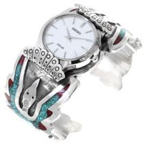 Sterling Silver Waterbird Symbol Turquoise Watch Bracelet 41066
