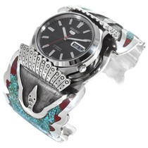Native American Turquoise Silver Mens Watch Cuff 41067