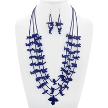 Vintage Dark Blue Fetish Necklace Set 41070