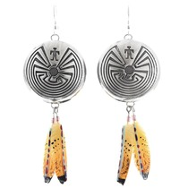Navajo Man In The Maze Feather Earrings 41071