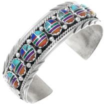 Vintage Inlaid Multistone Navajo Ladies Cuff Bracelet 41073