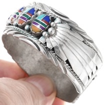 Sterling Silver Navajo Inlay Cuff Bracelet 41073