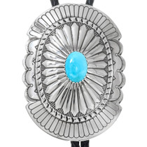 Navajo Turquoise Silver Concho Bolo Tie 41080
