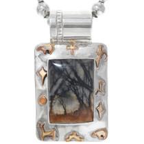 Vintage Picture Jasper Silver Navajo Pendant 41081