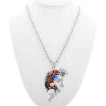 Colorful Gemstone Kokopelli Necklace 41082