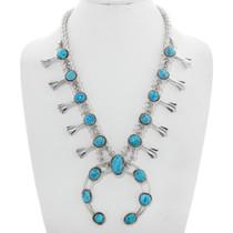 Navajo Turquoise Squash Blossom Necklace 28948