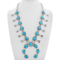 Navajo Turquoise Squash Blossom Necklace 41083