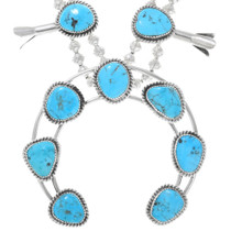 Ithaca Peak Turquoise Sterling Silver Squash Blossom Necklace 41083