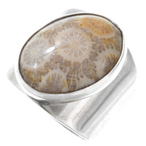 Sterling Silver Fossilized Coral Ring 41086