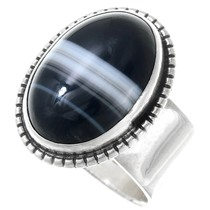 Sterling Silver Banded Onyx Ring