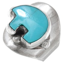Vintage Turquoise Bear Silver Ladies Ring 41090