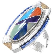 Vintage Inlaid Turquoise Lapis Gold Ring 41091