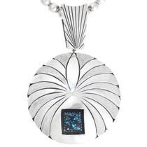 Vintage Turquoise Sterling Silver Reversible Pendant 41093