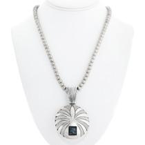 Navajo Spiderweb Turquoise Pendant Necklace 41093