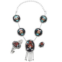 Vintage Zuni Kachina Necklace Bracelet Jewelry Set 41072
