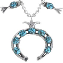 Spiderweb Turquoise Sterling Silver Squash Blossom Necklace 41094