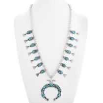 Navajo Turquoise Squash Blossom Necklace 41094