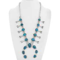 Natural Turquoise Squash Blossom Necklace 41095