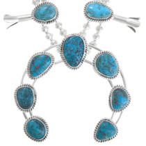 Ithaca Peak Turquoise Sterling Silver Navajo Necklace 41095