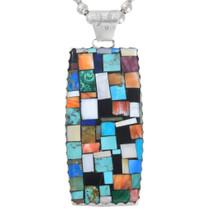 Mosaic Inlay Turquoise Spiny Oyster Santo Domingo Pendant 41097