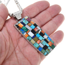 Vintage Sterling Silver Colorful Multistone Inlay Pendant 41097