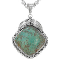 Native American Turquoise Silver Pendant 32999