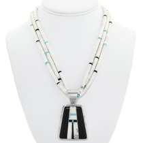 Navajo Geometric Design Turquoise Heishi Necklace 41098