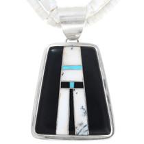 Native American Inlay White Buffalo Turquoise Pendant 41098