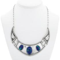Vintage Native American Azurite Silver Necklace 41099
