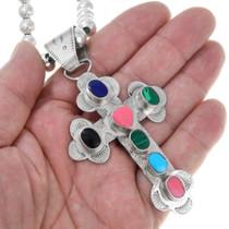Colorful Gemstone Cross Pendant 41107