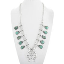 Native American Turquoise Squash Blossom Necklace 41110