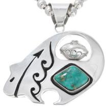 Navajo Reversible Turquoise Silver Heartline Bear Pendant 41116