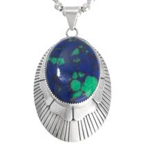 Sterling Silver Azurite Navajo Pendant 41119