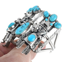 Sleeping Beauty Turquoise Silver Navajo Kachina Bracelet41123