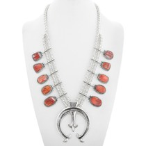 Navajo Spiny Oyster Silver Squash Blossom Necklace 41124